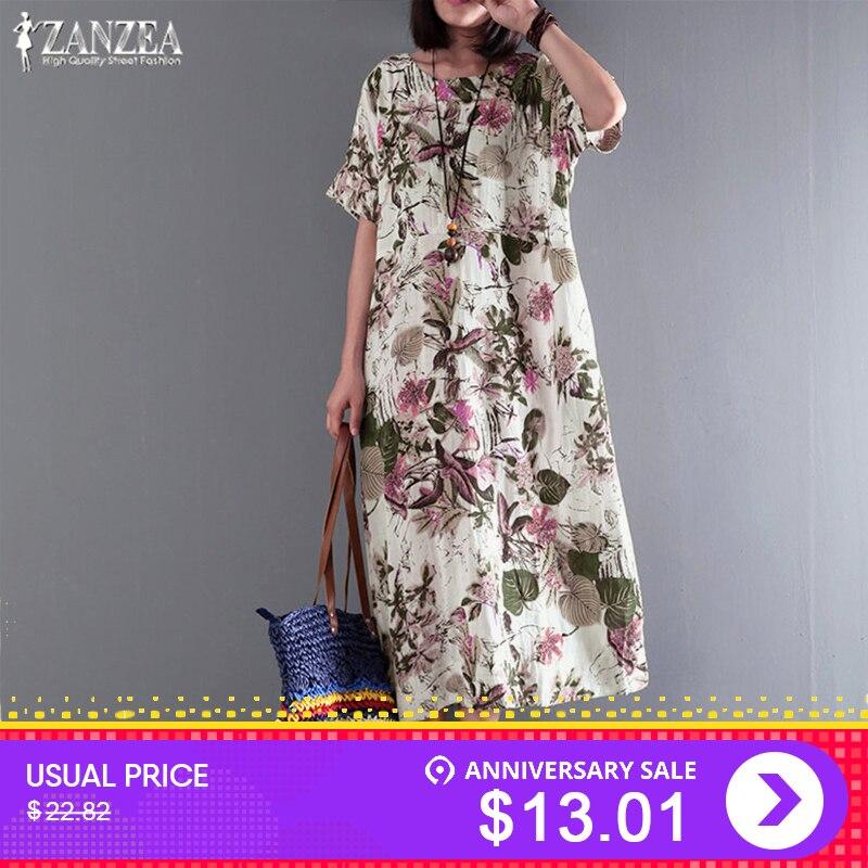 dbe6566a914adca ... сарафаны vestidos роковой плюс размеры · Платье в стиле бохо ZANZEA  миди платье Лето 2019 г. Повседневное для женщин Sundres Винтаж