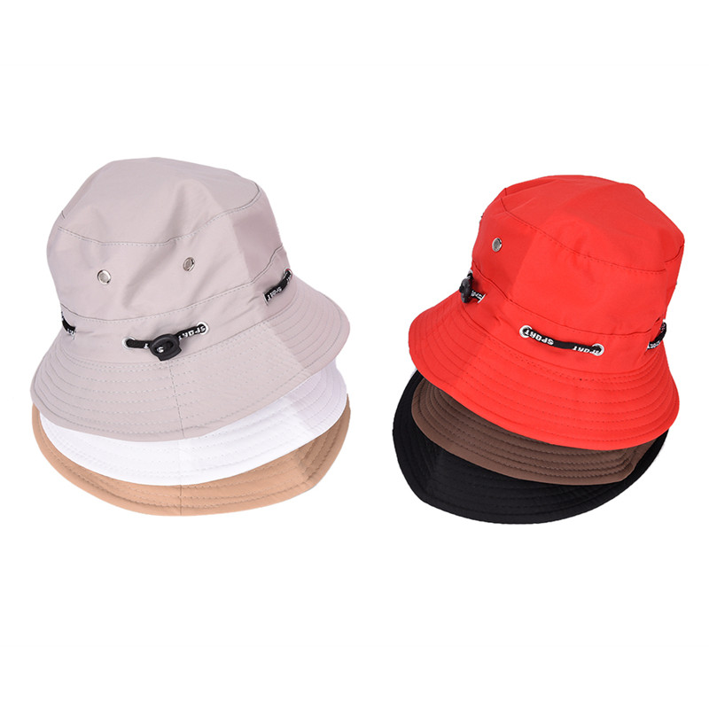 Female Male Fisherman Cap Unisex Flat Cotton Bucket Hat Spring Summer Sun Hat Travel Women Hat For Men Women  Black Red