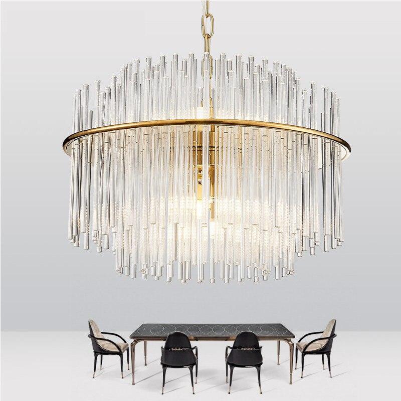 Gold iron shelf Crystal Pendant Light Lighting Modern Chrome Crystal Pendant Lights Fixture (Diameter 50cm or 68cm)