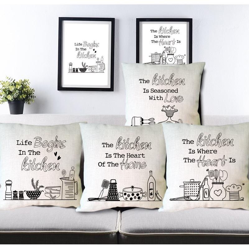 Kitchen Cushion Covers Condo Remodel Creative Letter Print Custom Linen Decorative For Sofa Chair Home Decor Throw Pillow In Cover From Garden On