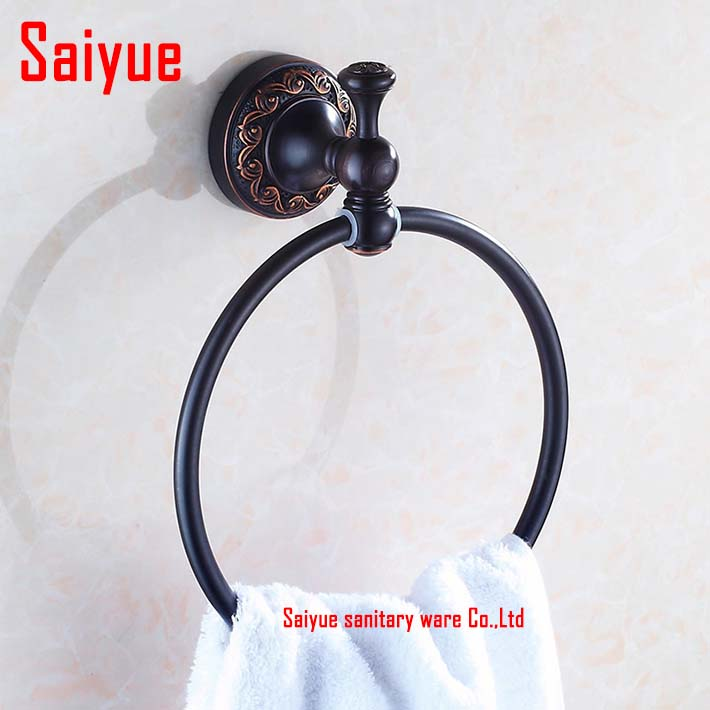 Wall Mounted copper Towel Ring Oil Rubbed Bronze Bath Towel Rack round ring bathroom accessories