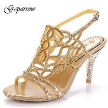 G-sparrow Frauen High Heels Diamant Sandalen Offene spitze Dünne Fersen Schuhe Strass Sexy Pumps Frauen Hochzeit Schuhe Bis Größe