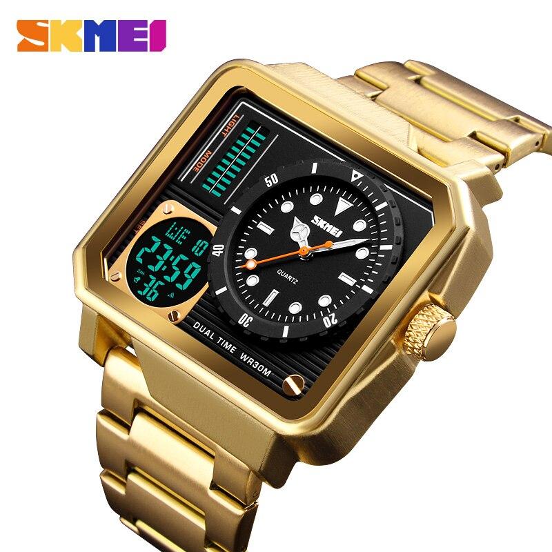 Мужские Цифровые часы с ремешком из нержавеющей стали, светодиодные часы с двойным дисплеем, персональный будильник, аналоговые часы, Relogio