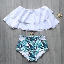 High Waist Off Shoulder Short Sleeves Bikini Top Ruffle Leaf Print