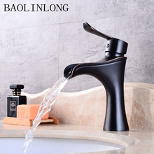 BAOLINLONG Antique Black Brass Basin Bathroom Faucet Deck Mount Vanity Vessel Sinks Mixer Bath Tap