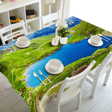 Thicken Cotton Tablecloth Green Mountain River Lake Landscape Dustproof Washable Cloth Rectangular&Round Table Cloth for Wedding rowlands cache lake country cloth