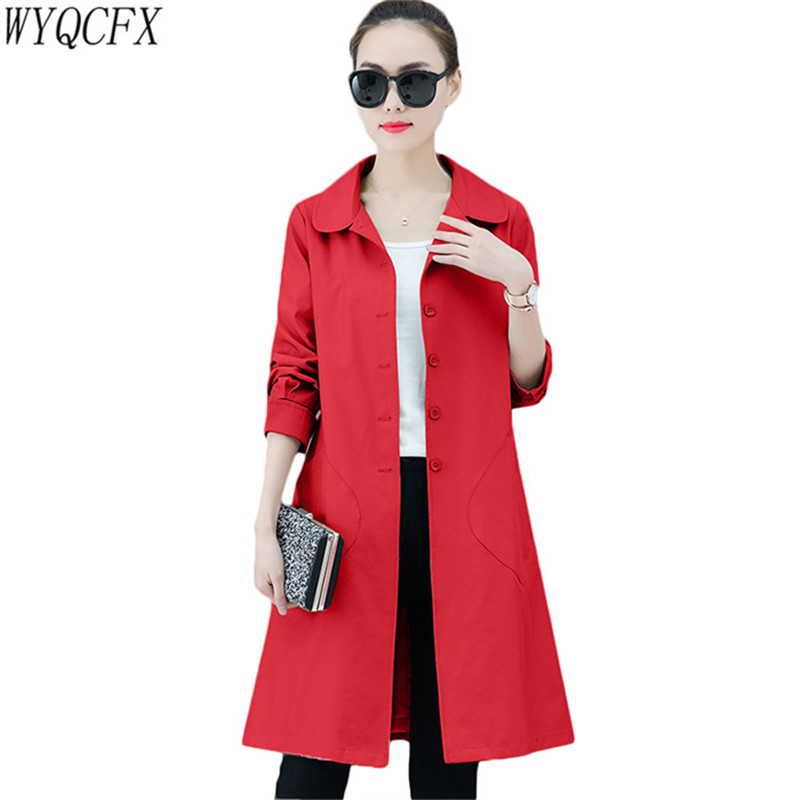 2019 New Spring Autumn Korean Slim Women's Windbreaker Coat Female Casual Long-Sleeved Thin Outerwear Long Chic   Trench   W140