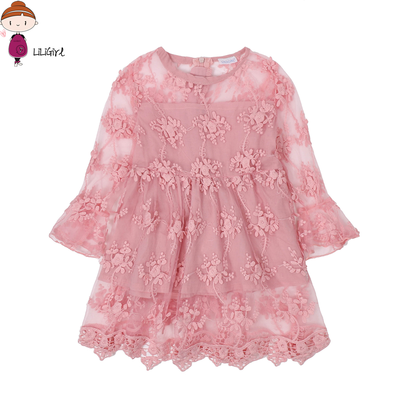 LILIGIRL Summer Girl Clothes Kids Dresses For Girls Lace Flower Dress Baby Girl For Party And