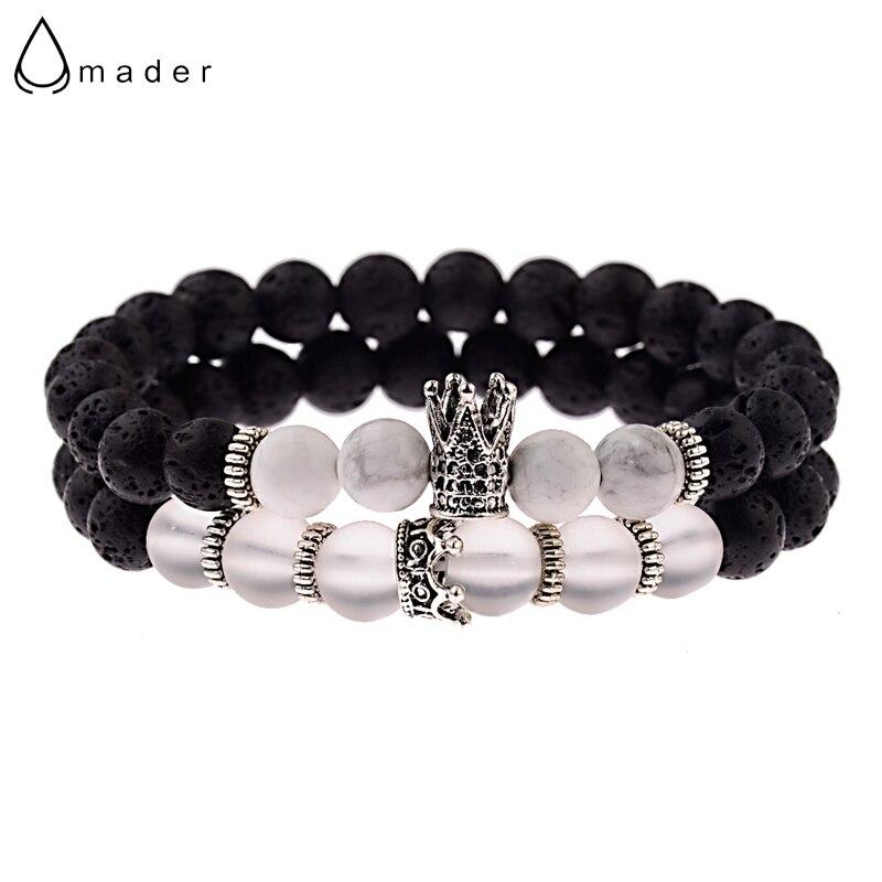 Amader Loves Bracelet Couple Crown Queen Charm Lava Stone Beads Bracelets Women's Handmade Distance Elastic Bangle Gift AB249