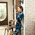 Black And Blue Chinese Traditional Women's Velour Slim Qipao Mandarin Collar Showily Cheongsam Flower Clothes Size S M L XL XXL