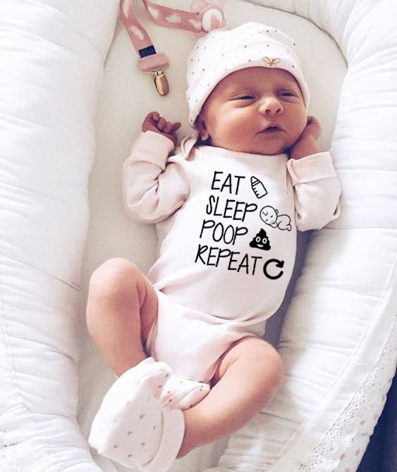 Cotton Infant Outfit Eat Sleep Poop Repeat Baby Girls Boys Jumpsuit  Letter Print Clothes Baby Girl Funny Long Sleeve Clothes