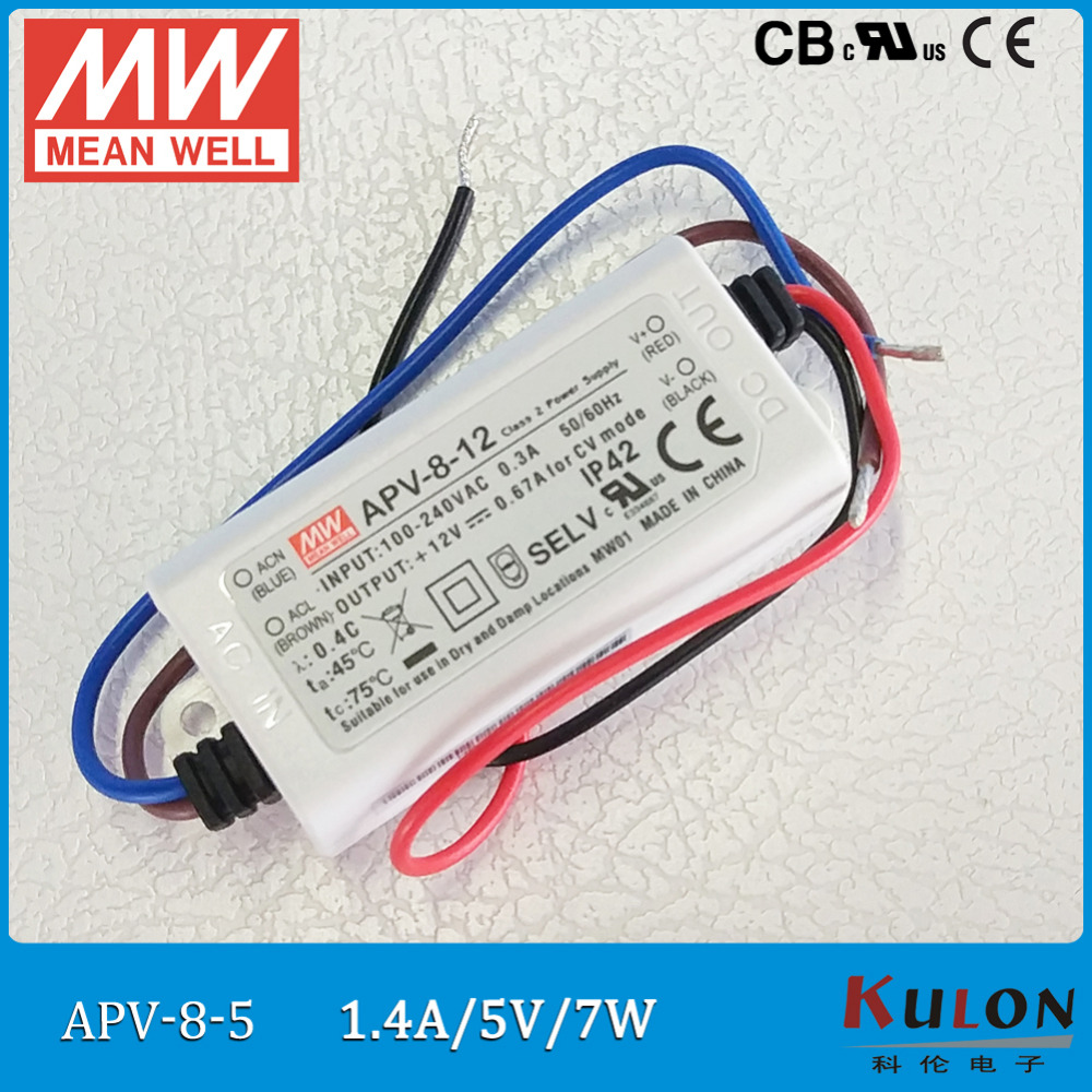 Free Shipping Meanwell LED driver APV-8 Single Output 7W 5V/1.4A 12V/0.67A 24V/0.34A IP42 Lighting Transformers for LED StripFree Shipping Meanwell LED driver APV-8 Single Output 7W 5V/1.4A 12V/0.67A 24V/0.34A IP42 Lighting Transformers for LED Strip