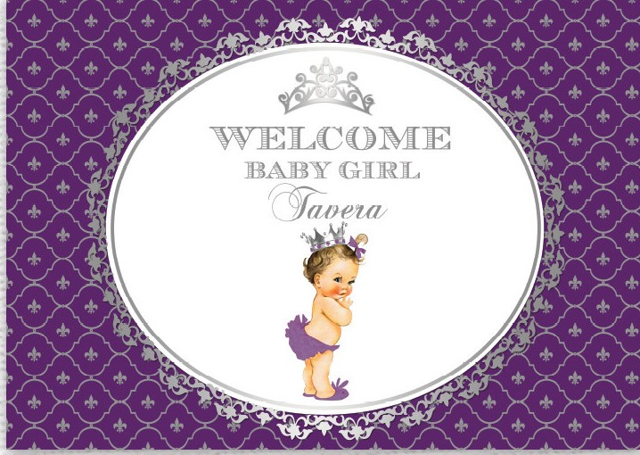 Custom Purple Silver Gold Princess Crown Baby Shower 1st Birthday Background Computer Print Party Photo Backdrop