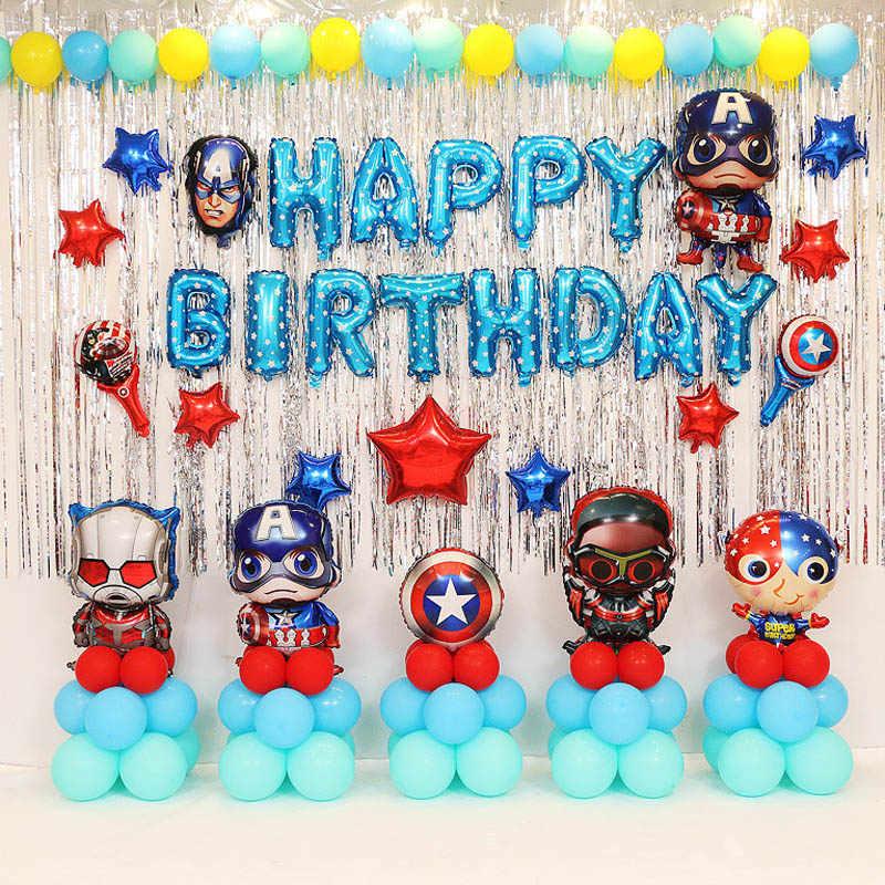 Avengers Foil Balon Ulang Tahun Pesta Dekorasi Kapten Amerika Klasik Anak Laki Laki Anak Balon Mainan Perlengkapan Pesta Hadiah