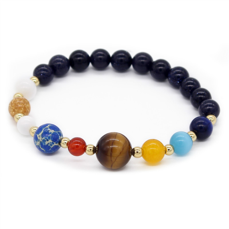 Poshfeel Galaxy The Eight Planets In The Solar System Guardian Star Natural Stone Beads Bracelet Bangle For Women Mbr170361