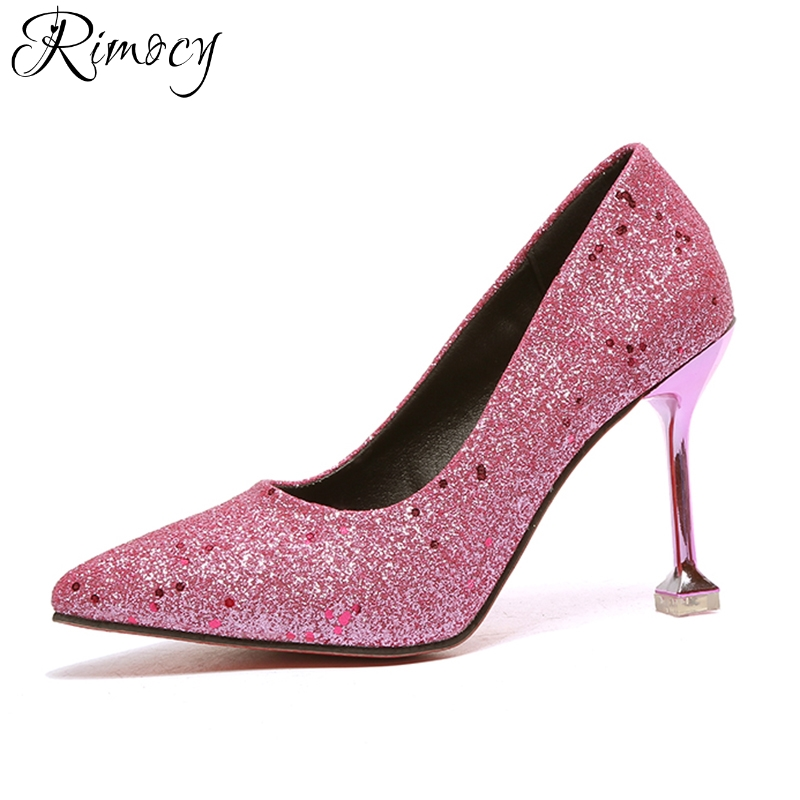 Rimocy sexy pink glitter pumps women 2018 spring new design 9.5cm thin high  heels pointed toe party wedding shoes woman sandals b9c5f96d6e