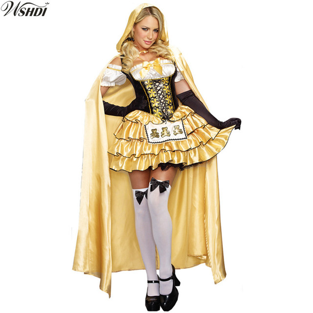 b79871a7aa3 US $26.01 10% OFF|High Quality 2018 Fantasia Fairy Tale Blonde Girl Costume  Adult Women Halloween&Carnival Party Fancy Princess Dress -in Holidays ...