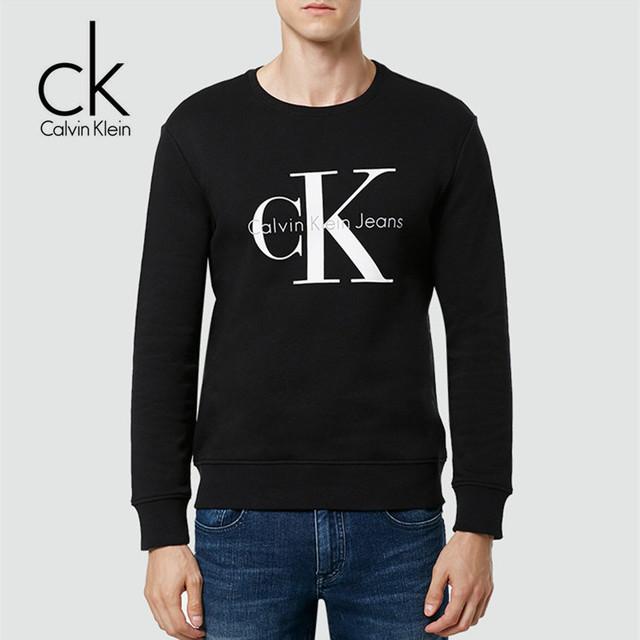 Calvin Klein Jeans / CK 2017 Winter New Men Long Sleeve LOGO Sweatshirts Men's O-Neck Letter Print Stylish Thick Tops J302252