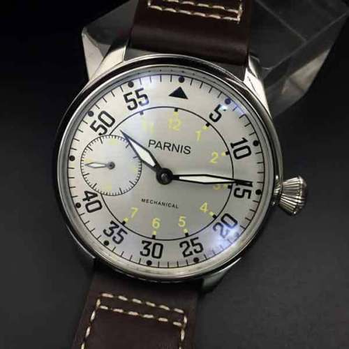 44mm parnis White Dial Yellow Number ST3600 hand winding 6497 mechanical mens watch все цены