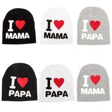 Детская шапка с надписью «I love Mom And Dad»; хлопковые детские шапки для малышей; шапочки для маленьких мальчиков и девочек