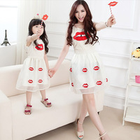Summer Style 2015 Mother Daughter Dresses Cotton Chiffon Lipstick Lips Fashion Family Matching Clothing For Mother