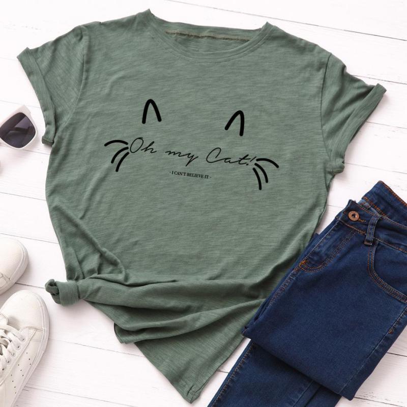 e1a6844f6f00 Zuolunouba ropa Casual verano Camisetas grises Tops chica manga corta letra  gato Meow estampado ...