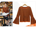 Kesebi New Hot 2017 Spring Summer Female Casual Slim O-neck Tops Women European Style Flare Sleeve Long Sleeve Striped T-shirts