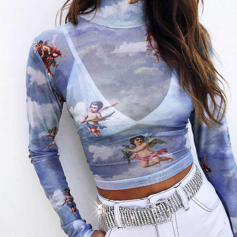 Sexy Vrouwen T-shirt See Through Transparant Mesh Tops Lange Mouwen Sheer Slim Dames Coltrui T-Shirt Nieuwe Aankomst Vrouwen tshirt