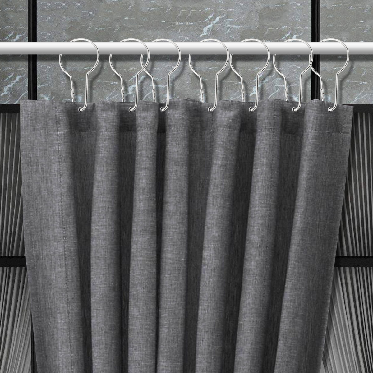Ounona 12pc Shower Curtain Hooks Glide Roller Rustproof Stainless Steel With Clips Polished Chrome For Bathroom Rods Curtains A2
