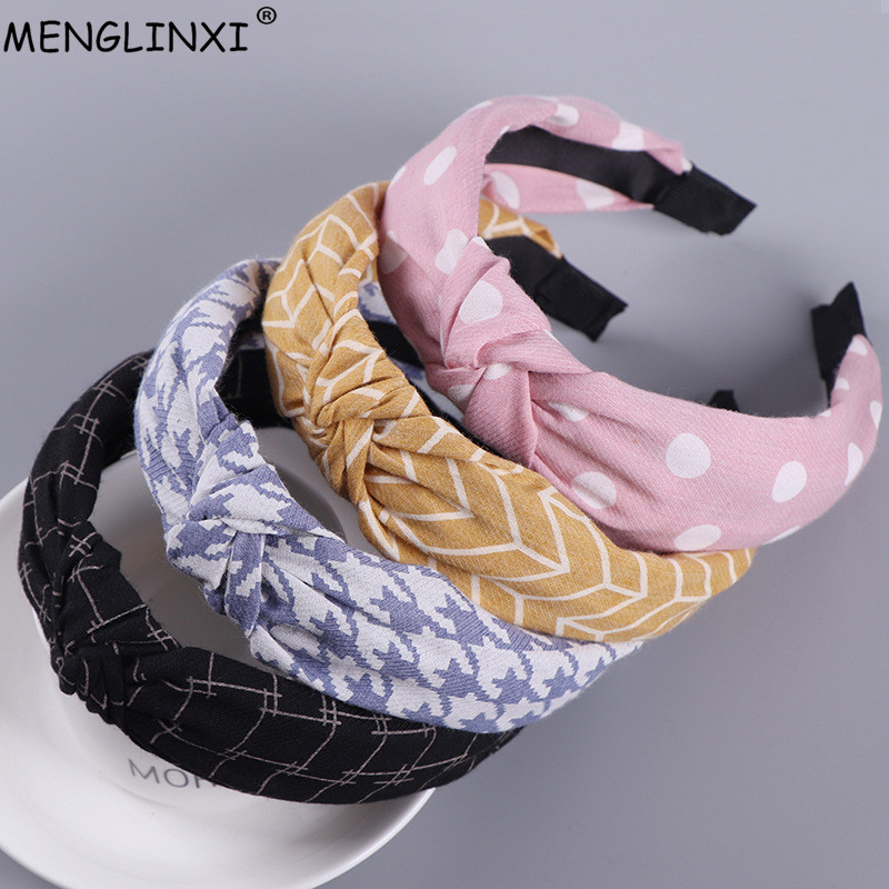 2018 Cute Knot Plastic Hairbands Headbands For Women Girls Fabric Dot Plaid Hairband Hair Accessories   Headwear   Lady Hair Hoop