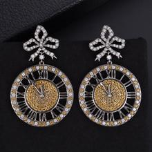 SisCathy Luxury Full Rhinestone CZ Crystal Earrings For Women Round Clock Shape Pendant Statement Jewelry Gifts