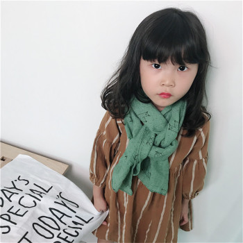 Korea Handmade Cotton Linen Print Cartoon Sheep Kids Children Girls Scarf Wrap Shawl Fall Winter Apparel Accessories-OZKSF020C5