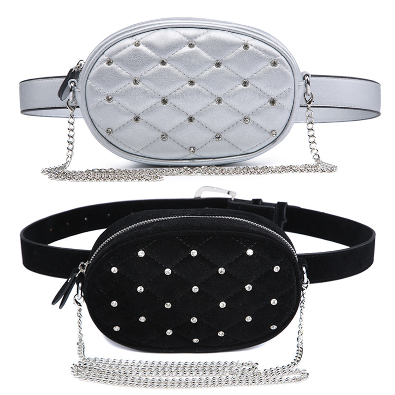 Mihaivina Hight Quality Waist Bag Women Waist Packs Belt Bag Luxury Chain Shoulder Bags Fashion PU Leather Velvet Chest Handbag