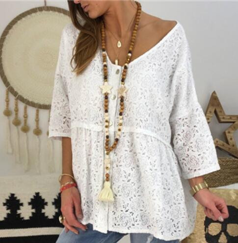 Lace Floral Blouse Summer 2019 Women Loose Hollow Out Casual Holiday Pullover White Black Top Ladies Plus Size 5XL Large Shirt
