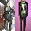 Mujeres perspectiva sexy rhinestone moda para mujer mono cantante trajes de una pieza dj espumosos ds gasa de diamantes mono