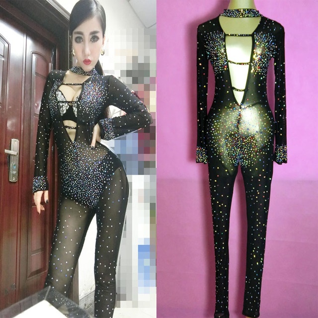 8541bfc6dd23 Women Perspective sexy rhinestone jumpsuit Fashion female singer one-piece  costumes dj sparkling diamond gauze