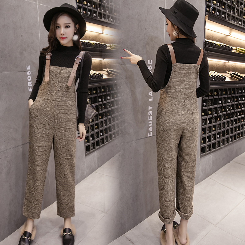 Women Fashion Loose Calf Length Wide Pants Rompers  Casual Womens Plaid Woolen Jumpsuit Overalls Strap Backless Jumpsuits