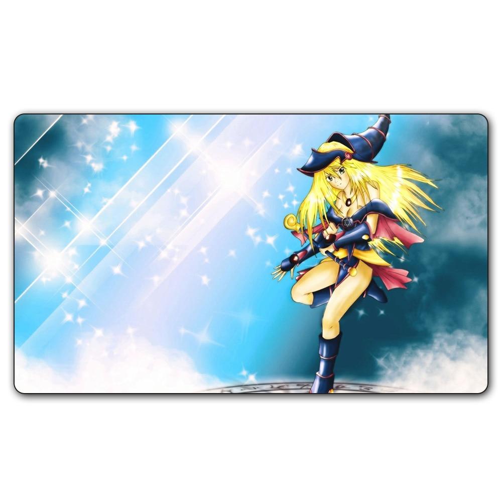 (#70 YGO Playmat) 14x24 Inches YU-GI-OH Dark Magic Girl Play Mat Board Games YuGiOh Card Games MGT Table Pad with Free Gift Bag
