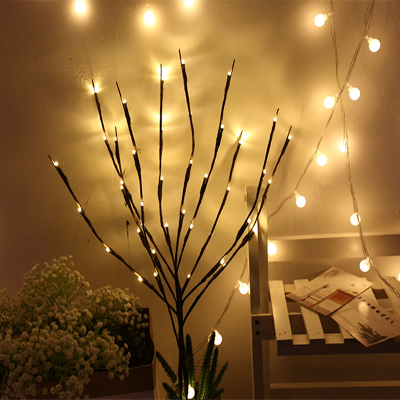LED Willow Branch Lamp Floral Lights AA Battery Powered 20 Bulbs Home Christmas Party Garden Decor Christmas Birthday Gift Gifts