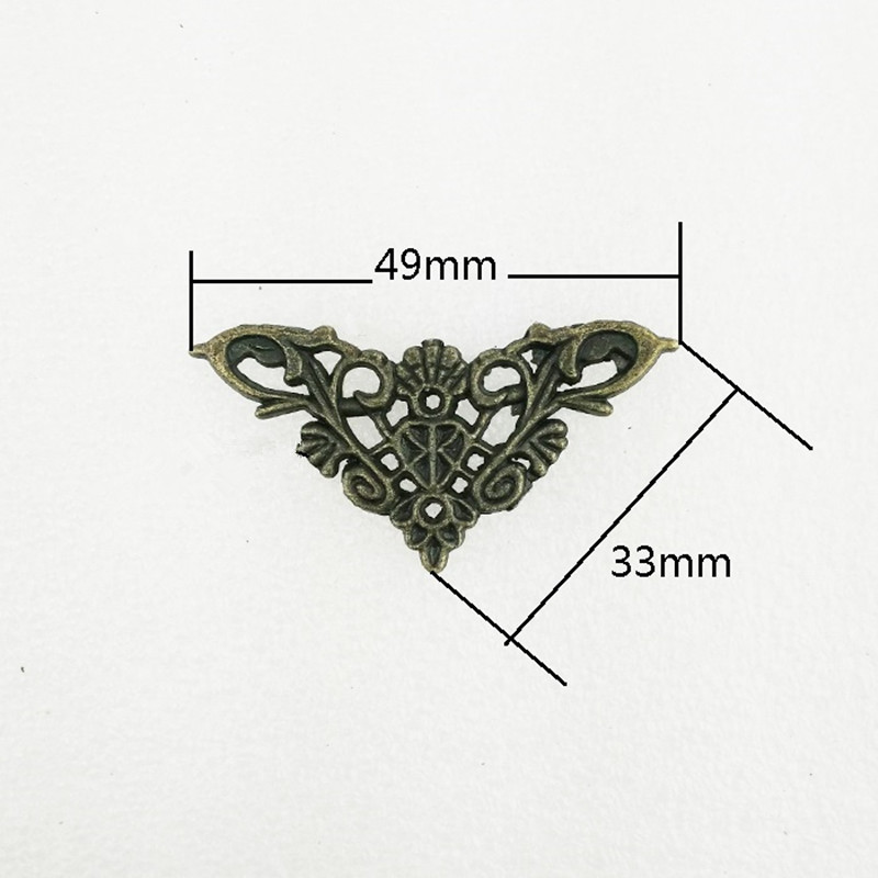 Zinc Alloy Wooden Box Coner,Wine Box Protector,Embellishment Findings Triangle Corners Antique Bronze Hollow Pattern,4Pcs