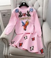 3D Flores Apliques Runway Trendy Jacket Longo-sleeved Knit Sweater Tops Mulheres A Linha de Saia + Blusas de Malha 2 pcs inverno Terno