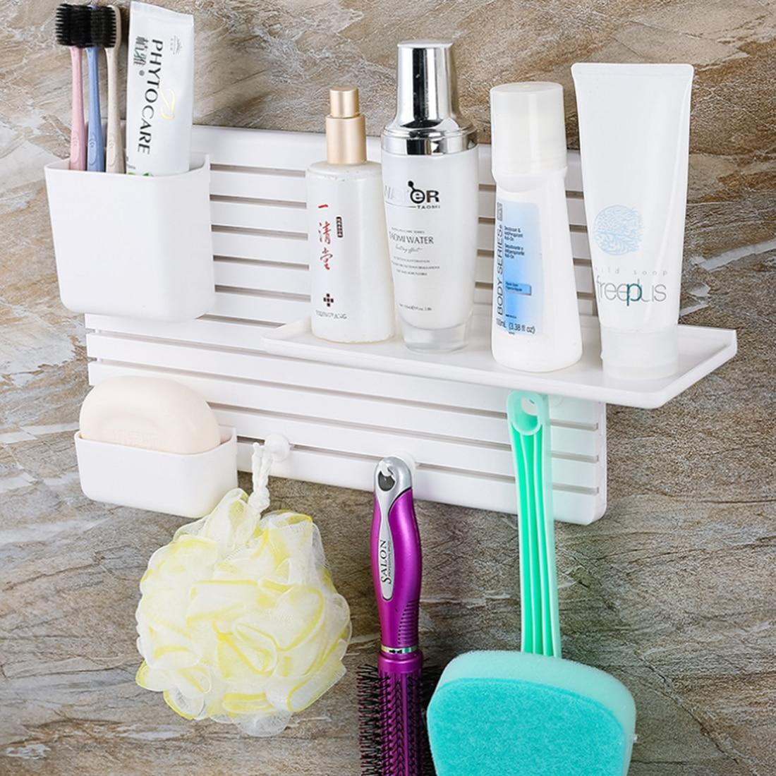Creative Stickup Plastic Wall Hanger Rack Durable Bathroom Kitchen DIY Storage Rack Home Storage Organization White