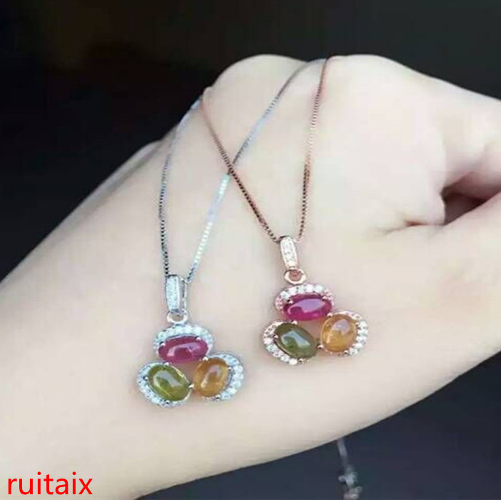 KJJEAXCMY boutique jewels S925 silver rose tourmaline, three bean ladies pendant, natural gemstone gift box chain parcel post.