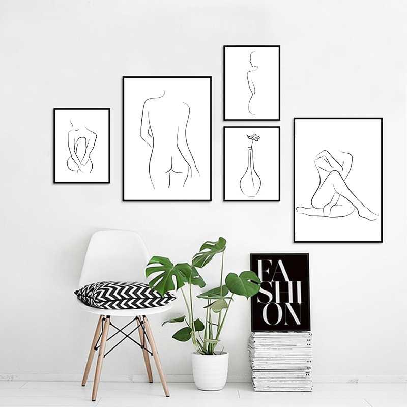Telanjang Telanjang Seksi Tubuh Wanita Gambar Garis Seni Lukisan Kanvas Wanita Abstrak Poster & Cetak Modern Rumah Dinding Seni dekorasi