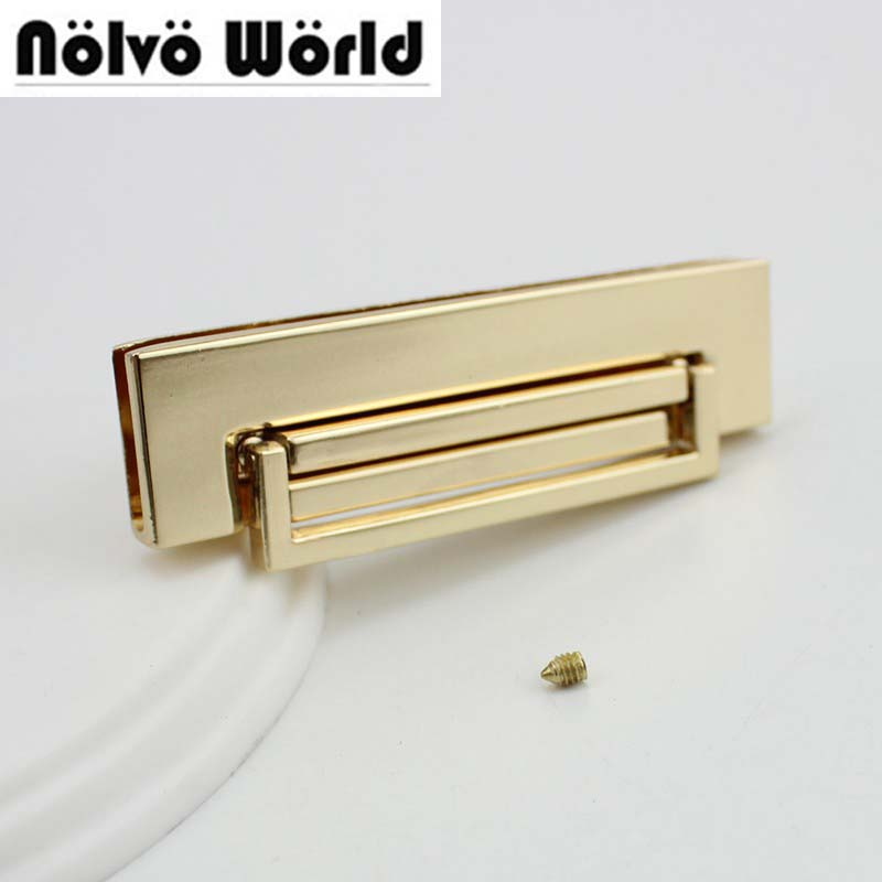 20sets 68 17mm high quality rectangle lock gold color metal lock for bags handbag metal locks