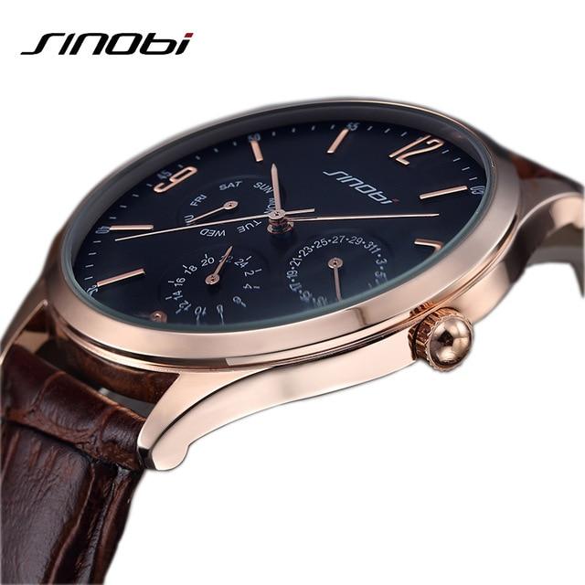 Fashion Quartz Men Watches Men Luxury Brand SINOBI Mens Casual Watch Leather Band Business Military Wristwatch