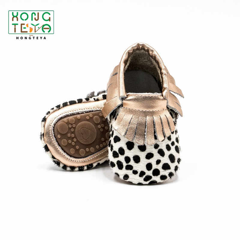 Baby Boy Girl Leopard Shoes Genuine Leather Baby Moccasins First Walkers Fringe for Toddler Girl Hard Sole Anti-slip Crib Shoes