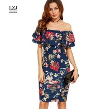 LZJ high quality new summer woman's clothes vestidos sexy word collar lotus leaf stitching high waist pencil dress plus size L39