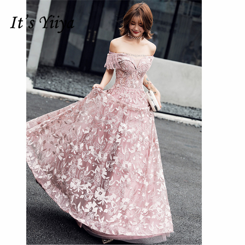 It's YiiYa Evening Dress 2019 Long Floral Embroid Beeding Women Party Dress Off-shoulder V-neck Robe De Soiree Plus Size E509