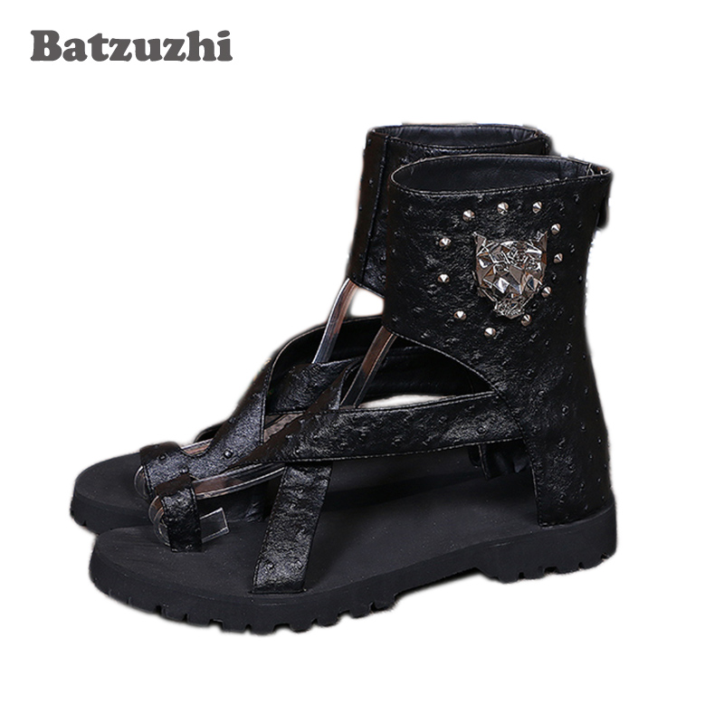 BATZUZHI Fashion Black Men Summer Sandal Boots Leather Gladiator Open Toe Sandalias Mens Beach Shoes Chaussure Homme, US12 EU46